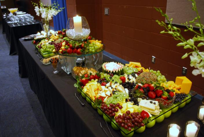 This is just one of the set ups for our cheese and fruit diplays.