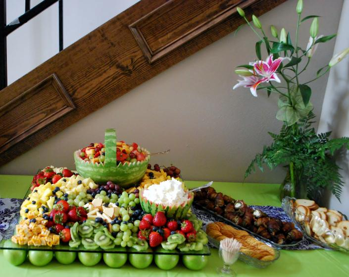 [Image: Fruit and Cheese Display with Dip and Stuffed Jalapenos]