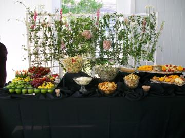 Fruit Display, Garden Pasta Salad, Broccoli Salad, Variety of Cheeses with Crackers