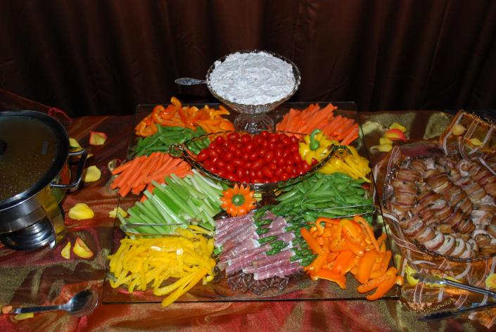 Vegetable Display Wedding Catering Photos